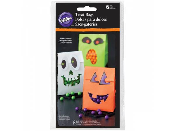 Deco gâteau Halloween- Sacs en papier Halloween avec stickers