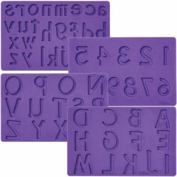 Lot de 4 moules à modelage Wilton chiffres et lettres