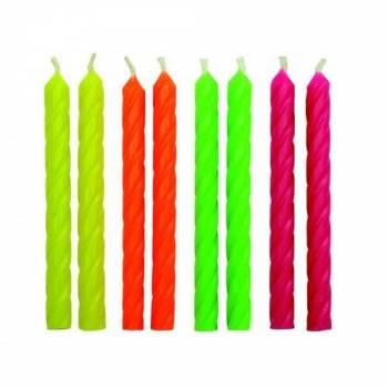 24 Bougies couleur néon