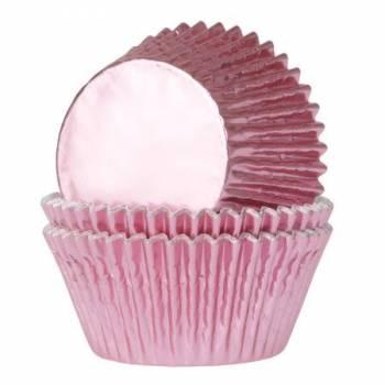 24 Caissettes cupcakes métal rose bébé