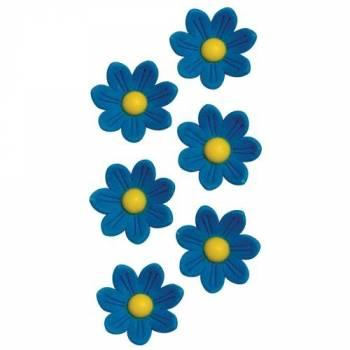 12 Marguerites en sucre bleu