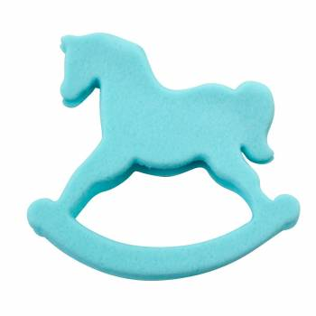 Cheval à bascule bleu pour gâteau