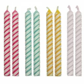 24 Bougies rayures assorties