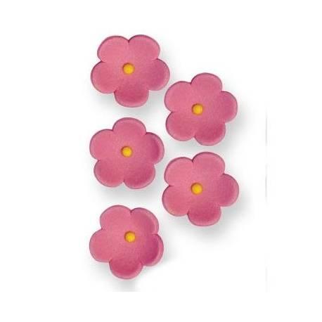 Boîte de 30 petites fleurs en sucre de couleur rose pour décorer vos desserts Dimensions : Ø 2 cm