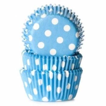 60 Mini caissettes cupcakes bleu à pois