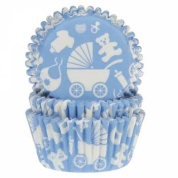 50 Caissettes Baby bleu