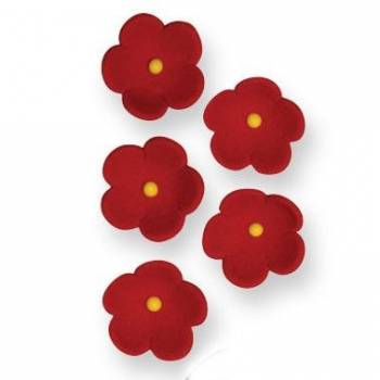 30 Mini Fleurs rouge en sucre Ø 2cm