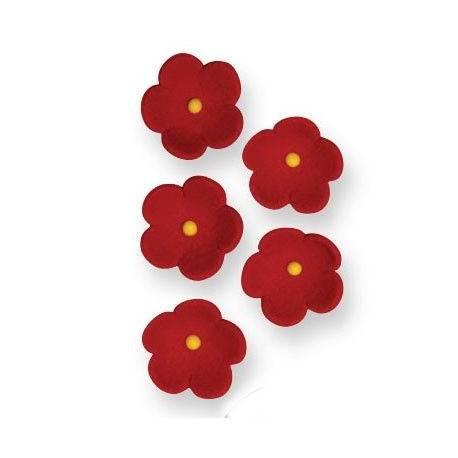 Boîte de 30 petites fleurs en sucre de couleur rouge pour décorer vos dessertsDimensions : Ø 2 cm