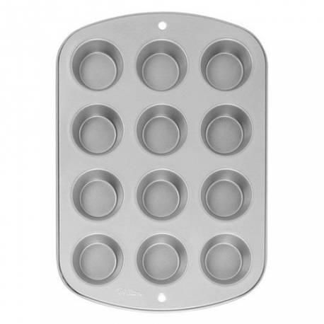 Plaque 12 muffins et/ou cupcake wilton anti-adésif grand modéleDiamètre haut d'une cavitée: 7 cmDiamètre bas d'une cavitée: 5...
