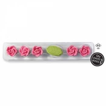 5 Roses avec feuilles en sucre rose