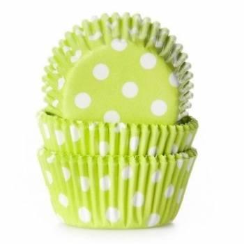 60 Mini caissettes cupcakes vert à pois