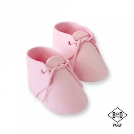 Paire chaussons en sucre roseidéal pour décorer vos gâteaux de Baby Shower, baptème, 1 anDimensions :9,6 x 5,2 cm