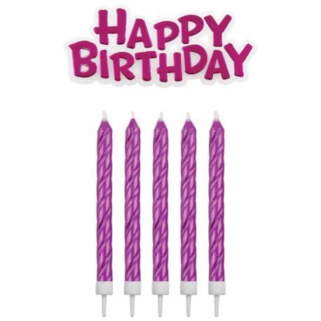 16 Bougies avec bobêches (6 cm) + 1 bougie Happy birthday fuschia (6.3cm x 2.5 cm)