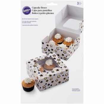 3 Boîtes cupcakes Wilton étoiles noir/or