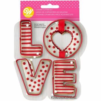 Kit de 4 emporte pièces LOVE Wilton