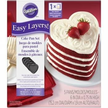 Kit 5 Moules à gâteau coeur Wilton 15 cm