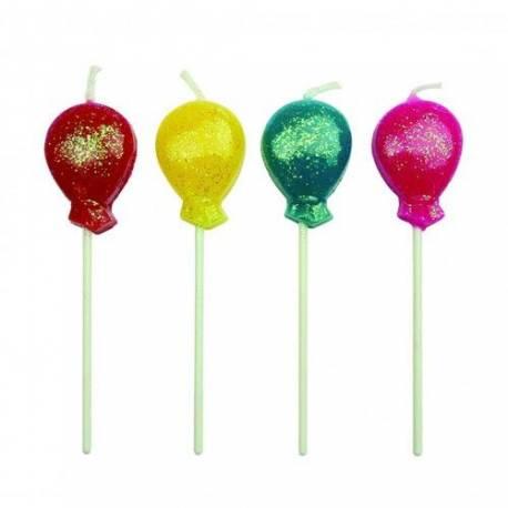 Lot 8 Bougies forme Ballon pour créer une belle décoration d'anniversaire à thème à votre enfant.8 Bougies pics en forme de ballons...