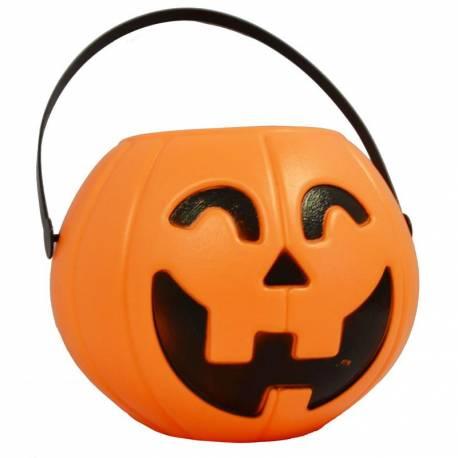 Panier en plastique en forme de citouille pour la récolte des bonbons d'Halloween Ø 16 cm