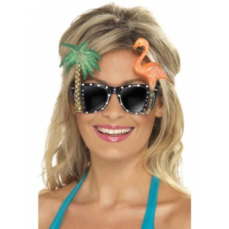 Paire de lunettes originale avec palmier et flamant rose pour accessoiriser votre photobooth matière: plastique