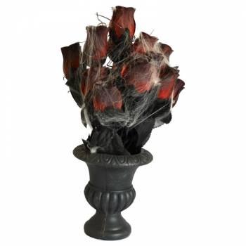 Vase gothique avec rose et toile