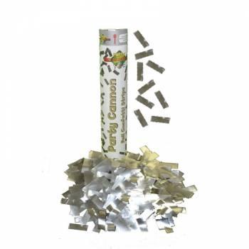 Canon à confettis métallisé argent 30cm