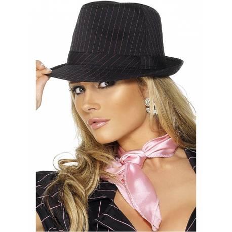 Chapeau de gangster pour femme rayures roses pour compléter votre déguisement ou accessoiriser votre photobooth