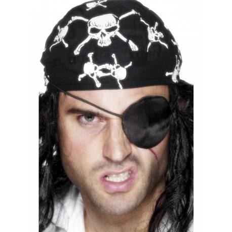 Cache oeil pirate en satin noir pour compléter votre costume ou accessoiriser votre photobooth