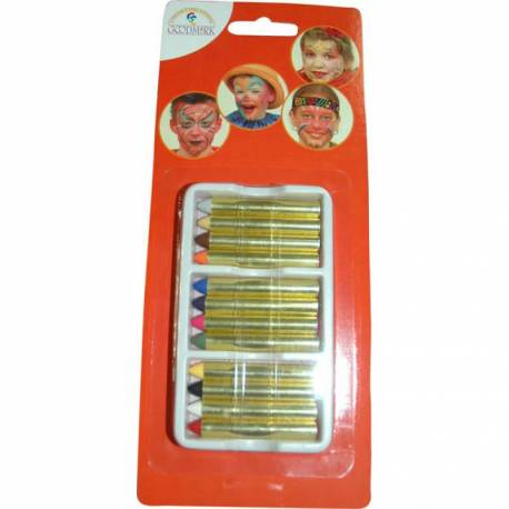 Ce blister de 12 crayons gras vous permettra de réaliser de beaux maquillages à prix mini. Démaquillage à l'eau et au savon. Non...