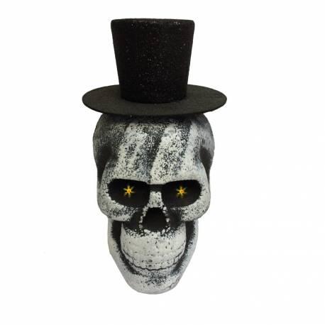 Deco halloween t te de mort gentleman lumineuse - Deco tete de mort ...