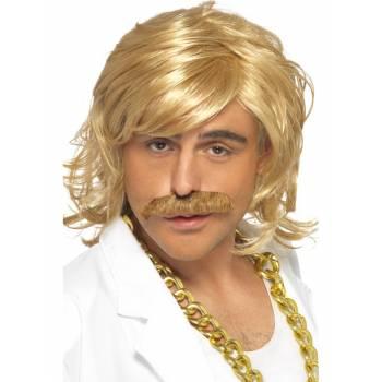 Perruque blonde + moustache année 80