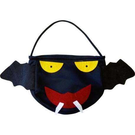 Sac Halloween en forme de chauve-souris. Peut également servir d'accessoire de déguisement . Le sac mesure 26 cm x 20 cm, soit avec la...