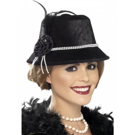 Chapeau noir 1920 avec plumes et perles pour compléter votre déguisement ou accessoiriser votre photobooth