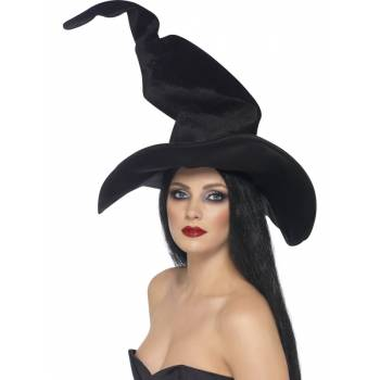 Grand chapeau de sorcière noir velour
