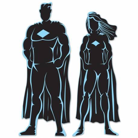 Silhouette de super héros en plastique souple à fixer sur vos murs et fenêtres de la salle de votre fête. Dimensions : 83 cm et 90 cm
