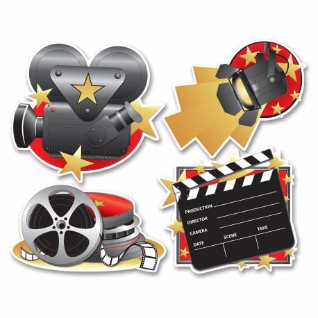 4 décors Cinéma en carton Dimensions : 40 cm