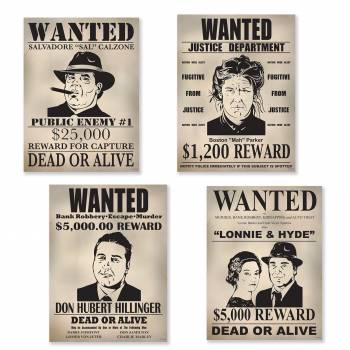 4 Pancartes Wanted gangster