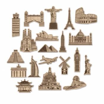 20 décors en carton des Monuments du monde