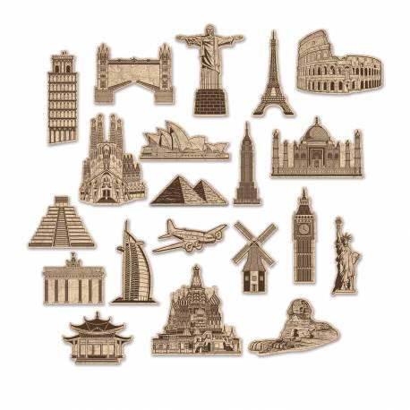20 décors en carton des Monuments du monde pour décorer la salle de votre soirée voyage autour du monde Dimensions planches : 18cm x...