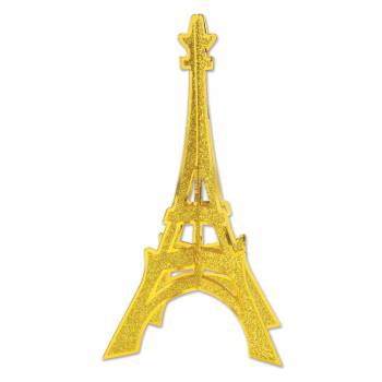 Centre de table Tour Eiffel pailleté or 30cm
