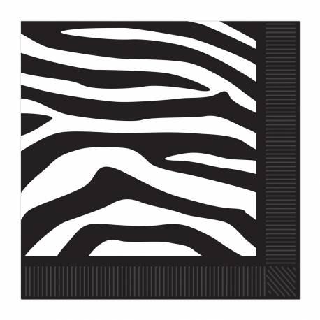 Paquet de 16 serviettes imprimé zèbre Dimensions : 25 cm x 25 cm