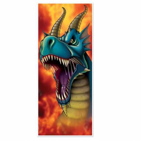 Décor de porte dragon en plastique pour agrémenter votre décoration de fête sur le thème Fantastique, Game of trôn Dimensions : 180cm x...