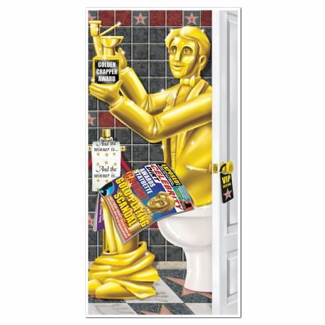 Decor de WC theme cinema en toile plastifiée imprimée Dimensions: 0.75 mètres x 1.55 mètres