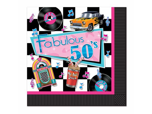 soir e rock n 39 roll ann e 50 serviettes fabulous 50. Black Bedroom Furniture Sets. Home Design Ideas