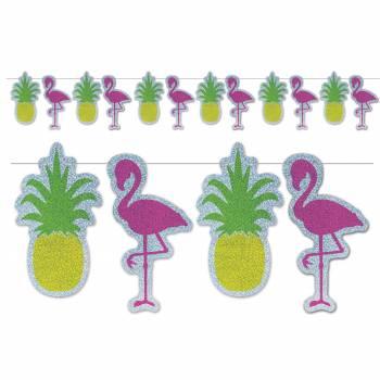 Guirlande ananas et flamingo hologramme