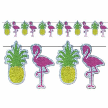 Guirlande ananas et flamingo hologramme pour une soirée tropicale et estivale Dimensions : 365cm x 23cm