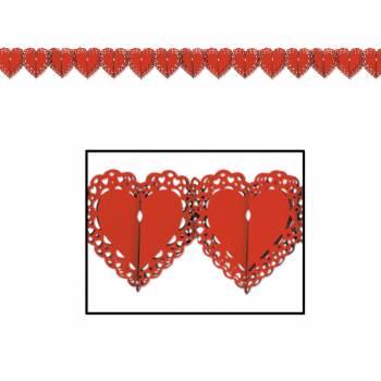 Guirlande en papier coeur rouge