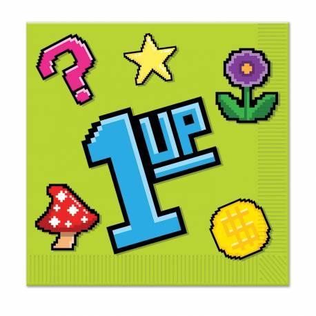 16 Serviettes en papier sur le thème des Jeux vidéo Dimensions : 33cm x 33cm / 18.5cm x 18.5cm