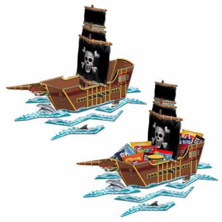 Centre de table, à garnir de bonbons ou autre, en forme de bateau pirate, lors de vos fêtes d'anniversaire. Livré avec 8 découpes...