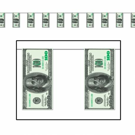 Guirlande de 12 billets Dimensions: 3.65 Mètres matière plastifiée