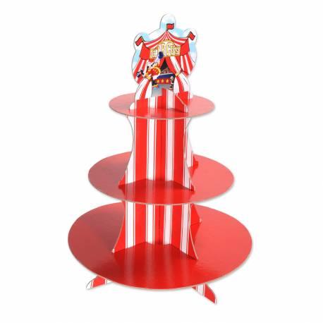 Superbe présentoir à gâteaux Circus en carton rigide à monter très facilement Idéal pour une déco d'anniversaire sur le thème du cirque....